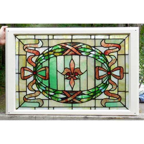G14068 - Antique Colonial Revival Stained Glass Window