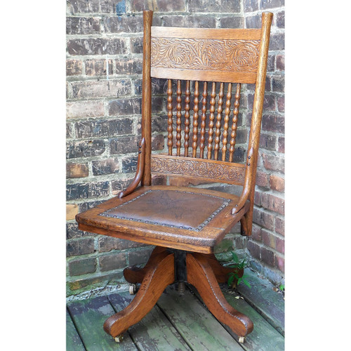 F14083 - Antique Oak Colonial Revival Swivel Desk Chair