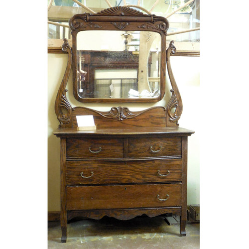F14084 - Antique Late Victorian Oak Dresser