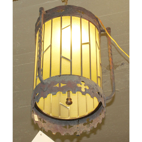 L14216 - Vintage Tudor Revival Hanging Lantern Fixture - Unrestored
