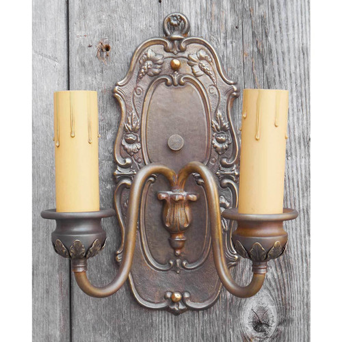 L14282 - Antique Colonial Revival Double Arm Candle Sconce
