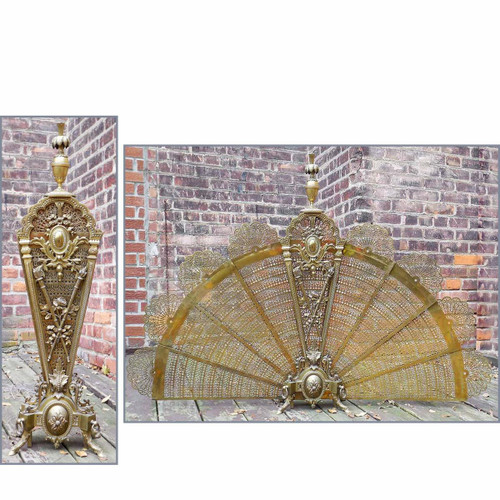 M14040 - Antique Revival Period Brass Fire Screen
