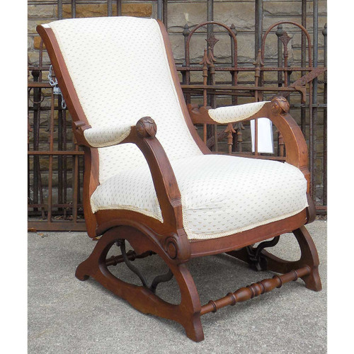 F14118 - Antique Walnut Renaissance Revival Upholstered Recliner