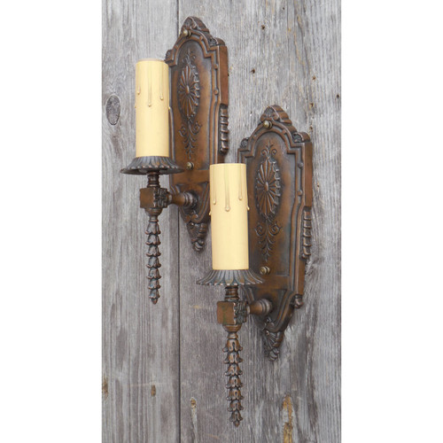 L14319 - Pair of Antique Colonial Revival Single Arm Candle Sconces