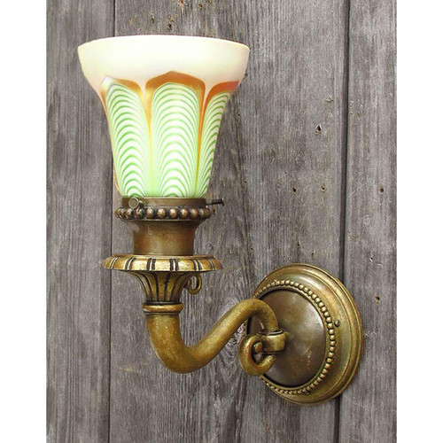 L14325 - Antique Beaux Arts Gas Sconce with Art Glass