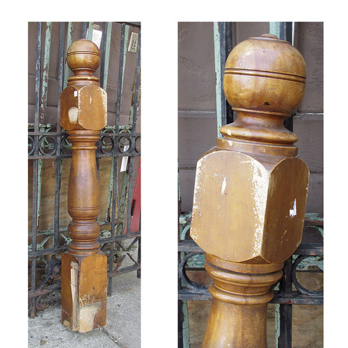 S14051 - Antique Late Victorian Birch Newel Post