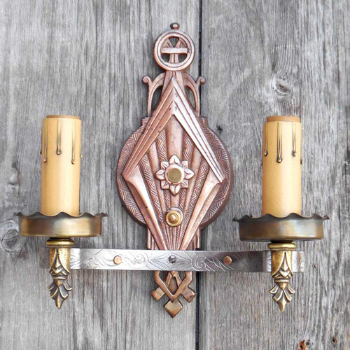 L15029 - Antique Art Deco Double Arm Candle Sconce
