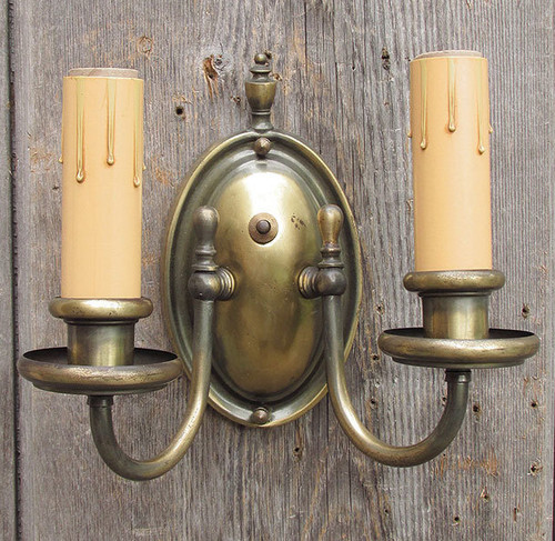 L15123 - Antique Brass Colonial Revival Two Arm Candle Sconce