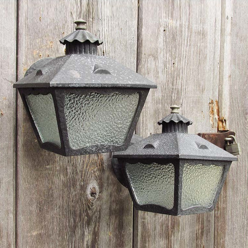 L15126 - Pair of Arts & Crafts Aluminum Exterior Lantern Sconces