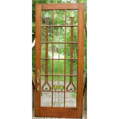 "D15126 - Antique Stained Glass Interior Door 38"" x 88"""