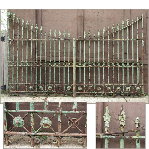 S15016 - Antique Gothic Revival Cast and Wrought Iron Driveway Double Gate