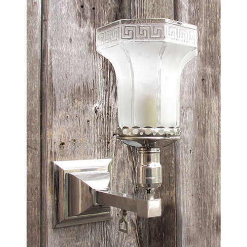L15188 - Antique Silver Plated Arts and Crafts Gas Sconce