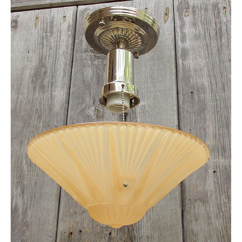 L15260 - Art Moderne Ceiling Light Fixture With Antique Bowl Shade