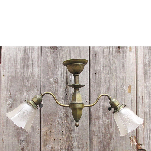 L15274 - Antique Late Victorian Early Electric Two Arm Fixture