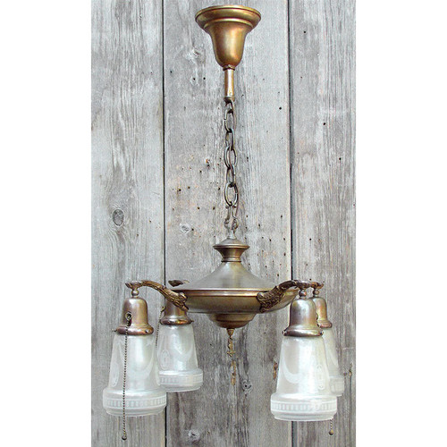 L15287 - Antique Colonial Revival Four Light Hanging Pan Fixture