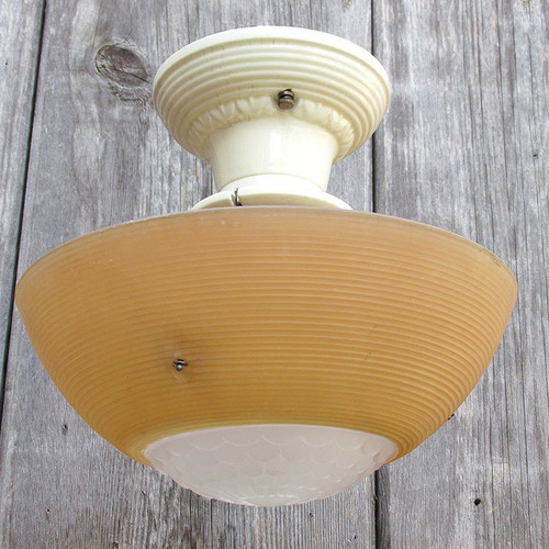 L15319A - Antique Art Moderne Ceiling Light Fixture With Bowl Shade