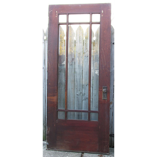 "D15219 - Antique Arts and Crafts Pine Marginal Nine Light Exterior Door 35 3/4"" x 83 1/2"""