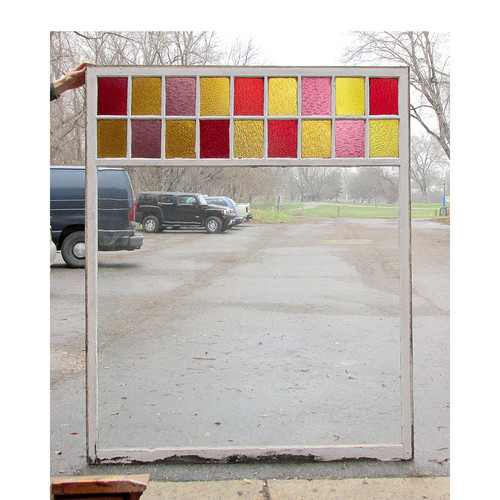 """G15067 - Antique Queen Anne Cylinder and Stained Glass Picture Window 55-1/2"""" x 67-3/4"""""""