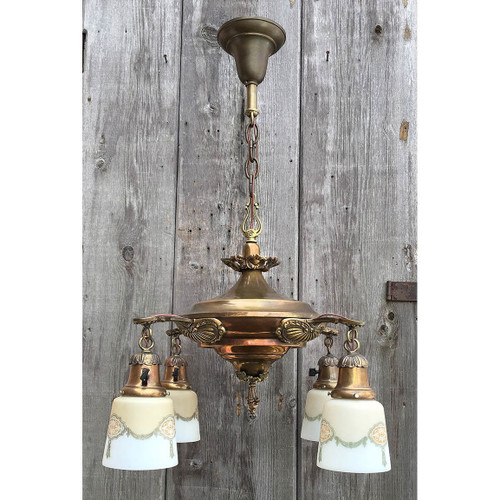 L15346 - Antique Colonial Revival Four Light Hanging Pan Fixture