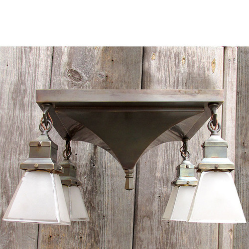 L15347 - Antique Arts and Crafts Four Light Flush Mount Fixture