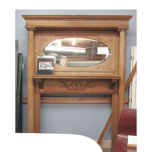 M16003 - Antique Colonial Revival Quartersawn Oak Full Mantel