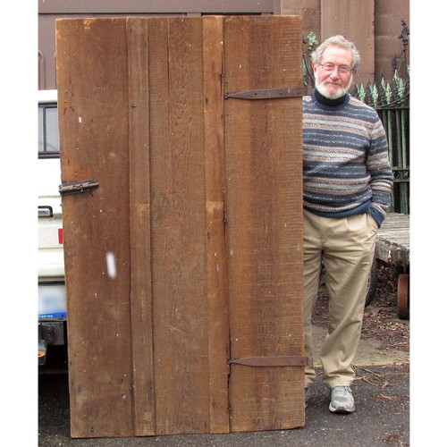 "D16007 - Antique Victorian Era Pine Board and Batten Barn Door 41"" x 70-1/2"""