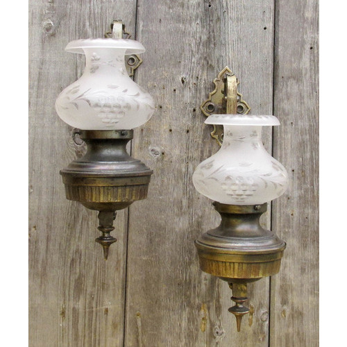 L16038 - Pair of Antique Colonial Revival Oversize Wall Sconces