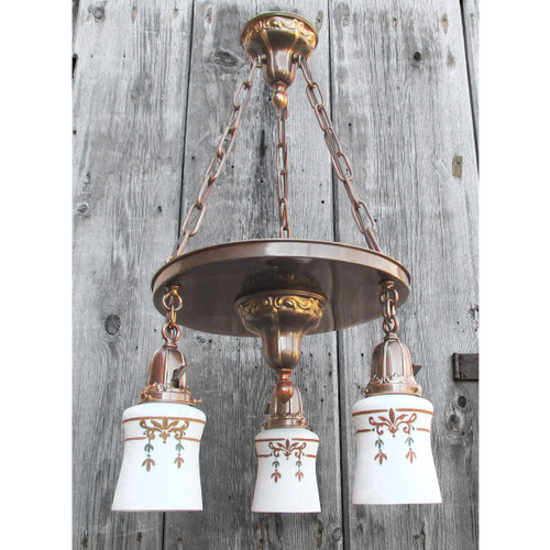 L16053 - Antique Colonial Revival Stamped Brass Three Light Fixture