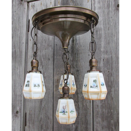 L16057 - Antique Arts & Crafts Four Light Fixture with Scenic Painted Shades