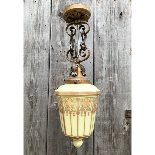 L16064 - Antique Wrought & Cast Brass Fixture with Gothic Revival Style Globe