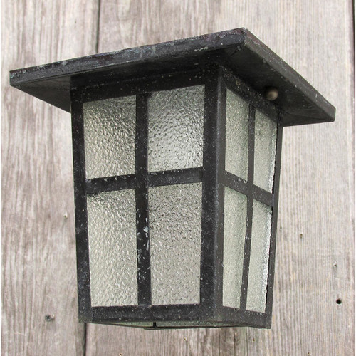L16068 - Antique Arts & Crafts Black Painted Steel Flush Mount Fixture
