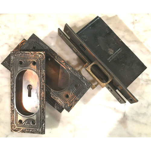 H16002 - Antique Cast Bronze Late Victorian Pocket Door Hardware Set