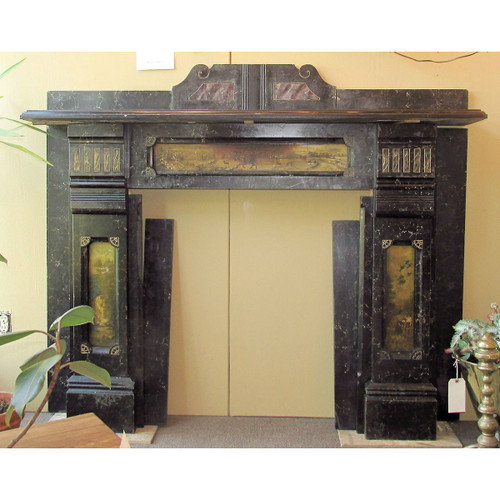M16009 - Antique Renaissance Revival Marbleized Slate Half Mantel