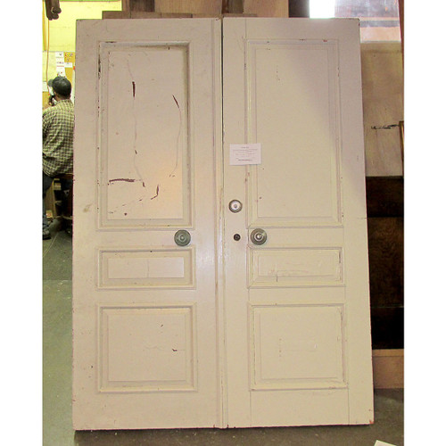 "D16049 - Pair of Antique Colonial Revival Three Panel Doors 55-3/4"" x 79"""