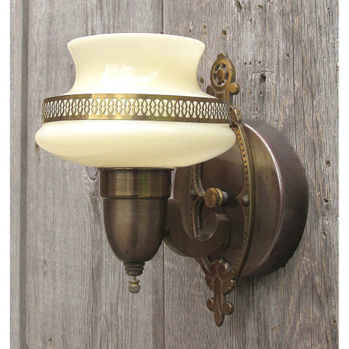 L16118 - Antique Art Deco/Art Moderne Bronze Plated Steel Sconce With Custard Shade
