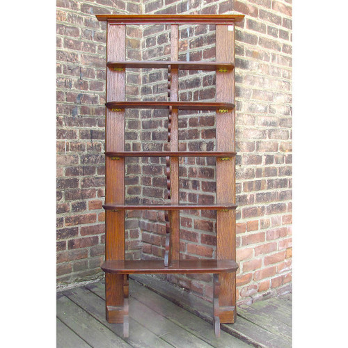 "F16058 - Antique Arts & Crafts Oak Fold-Down ""What-Not"" Shelves"
