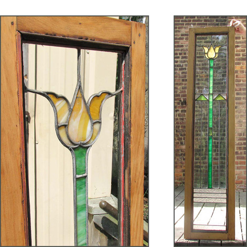 G16030 - Antique Arts & Crafts Tulip Window