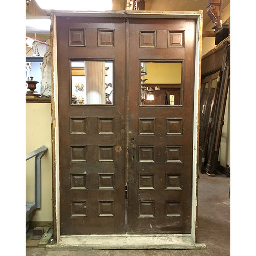 "D16060 - Pair of Antique Victorian Pine and Oak Exterior Doors in Jamb 56"" x 89-1/2"""
