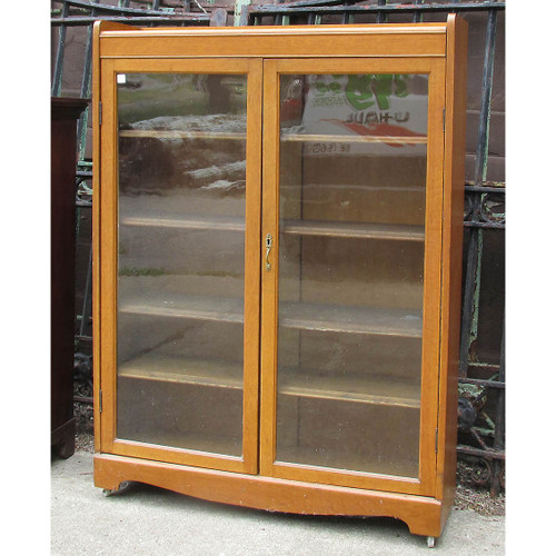 F16077 - Antique Late Victorian Quartersawn Oak Bookcase