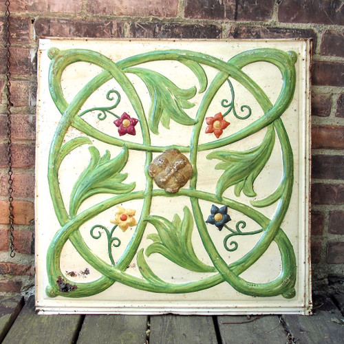 A16054 - Antique Painted Floral Patterned Pressed Tin Ceiling Panel