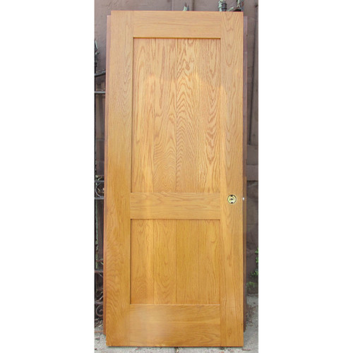 "D16081 - Vintage Exterior Varnished Oak Traditional Two Panel Door 32"" x 79-3/4"""