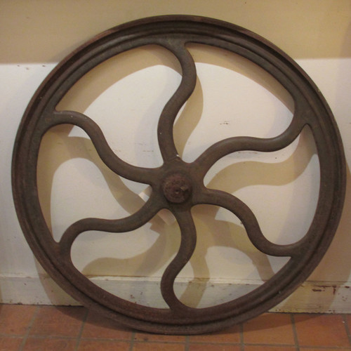 A16070 - Antique Agricultural Cast Iron Six Spoked Wheel