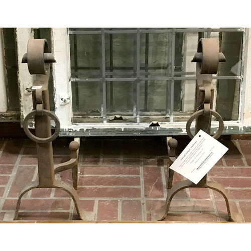 M16012 - Pair of Antique Arts and Crafts Wrought Iron Andirons