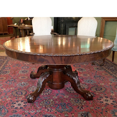 F16165 - Antique Neoclassical Mahogany Claw Foot Dining Table