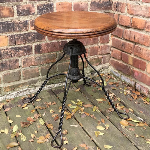 F16170 - Antique Oak and Wrought Iron Stool