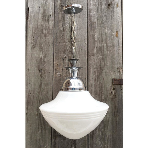 L16220 - Antique Stylized Art Deco Schoolhouse Fixture