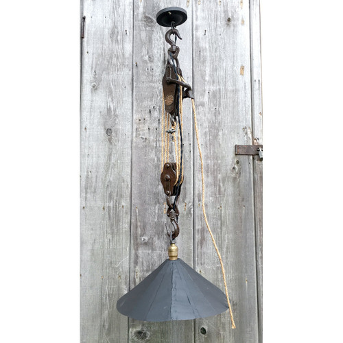 L17006 - Industrial Cast Iron Pulley Light with Steel Shade