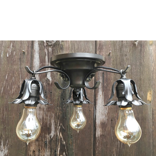 L17008 - Antique Tudor Revival Style Three Light Flush Mount Fixture