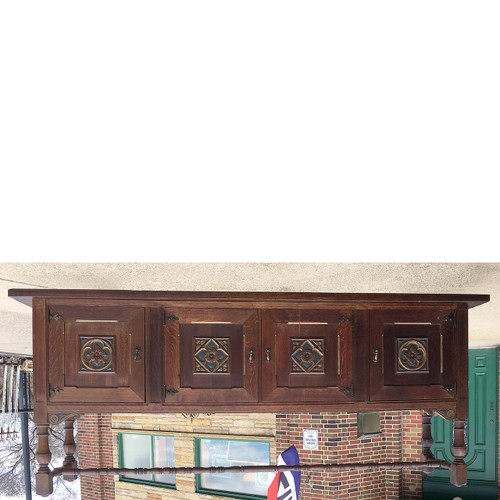 F17017 - Antique Custom Made Tudor Revival Style Collectors Cabinet