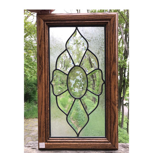 G17032 - Vintage Beveled Glass Cabinet Door in Oak Frame